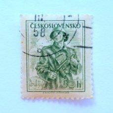 Sellos: SELLO POSTAL CHECOSLOVAQUIA 1954 , 50 H , SOLDADO , USADO. Lote 154967726