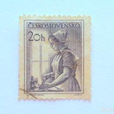 Sellos: SELLO POSTAL CHECOSLOVAQUIA 1954, 20 H , PROFESIONES: ENFERMERA - NURSE , USADO. Lote 155049754