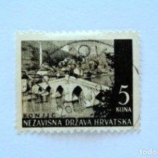 Sellos: SELLO POSTAL CROACIA 1941, 5 KN , PUENTE KONJIC, USADO. Lote 155081738
