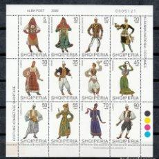 Sellos: ALBANIA 2000 - TRAJES REGIONALES - YVERT Nº 2488/2499 - MINI HOJA DE 12 SELLOS. Lote 156069598