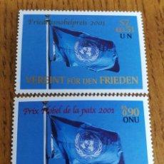 Sellos: NACIONES UNIDAS: PREMIOS NOBEL, AÑO 2001,MNH. Lote 161122558