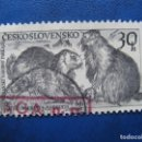 Sellos: CHECOSLOVAQUIA, 1959 PARQUE NACIONAL DE TATRA,MARMOTAS, YVERT 1037. Lote 164852110