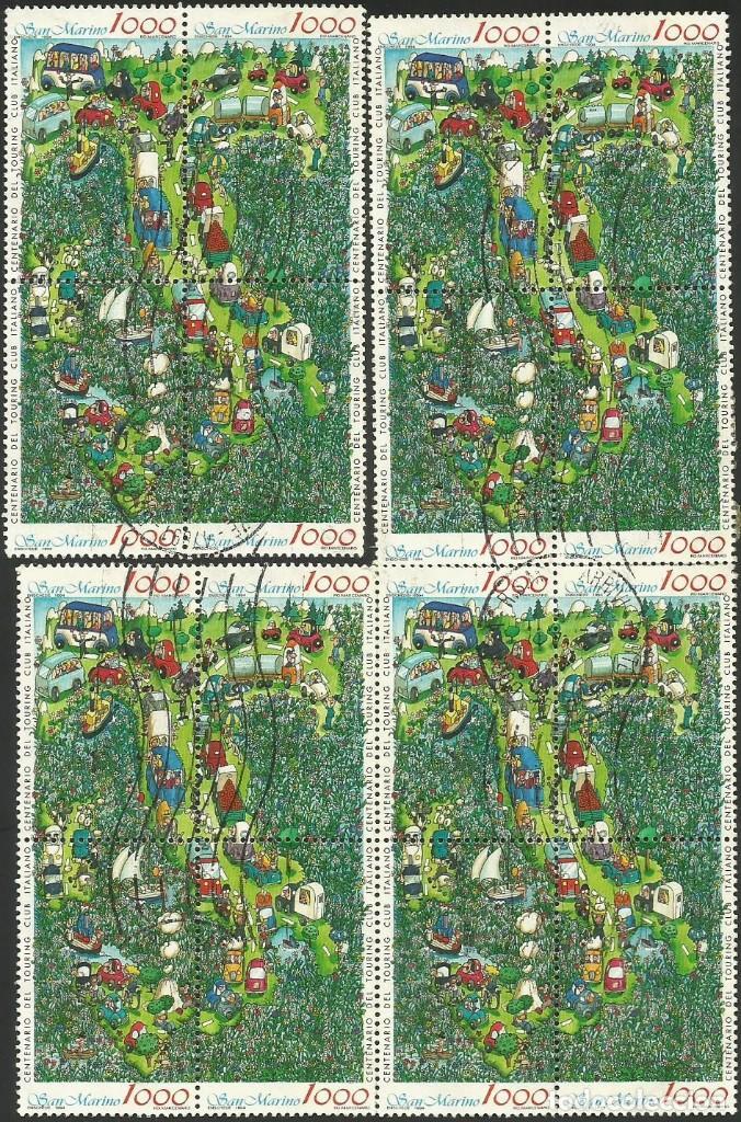 SAN MARINO 1994 - SM 1590 A 1593 - 4 MINI PLIEGOS DE 4 SELLOS USADOS (Sellos - Extranjero - Europa - Otros paises)