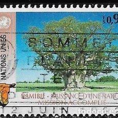Sellos: ONU. SEDE GINEBRA 1991. NAMIBIA, NACIMIENTO DE UNA NUEVA NACIÓN. USADO. Lote 167599116