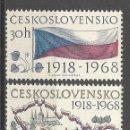 Sellos: CHECOSLOVAQUIA 1968 IVERT 1667/68 *** 50º ANIVERSARIO DE LA NACIÓN - BANDERA Y MAPA. Lote 168715464