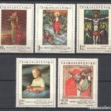 Sellos: CHECOSLOVAQUIA 1969 IVERT 1756/60 *** CUADROS DE GALERIAS NACIONALES - PINTURA. Lote 168904428