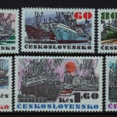 Sellos: CHECOSLOVAQUIA 1972 IVERT 1935/40 *** NAVIEROS DEL COMERCIO CHECOSLOVACO - BARCOS. Lote 170523740