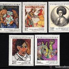 Sellos: CHECOSLOVAQUIA 1972 IVERT 1948/52 *** CUADROS DE GALERIAS NACIONALES - PINTURA. Lote 170524024