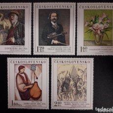 Sellos: CHECOSLOVAQUIA 1974 IVERT 2077/81 *** CUADROS DE GALERIAS NACIONALES - PINTURA. Lote 172641335