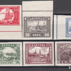 Sellos: LETONIA, 1928 YVERT Nº 143 / 148 /**/, SIN FIJASELLOS, SIN DENTAR, . Lote 177621252