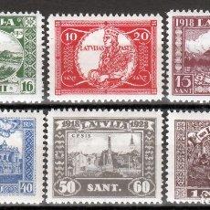 Sellos: LETONIA, 1928 YVERT Nº 143 / 148 /**/, SIN FIJASELLOS, . Lote 177621584