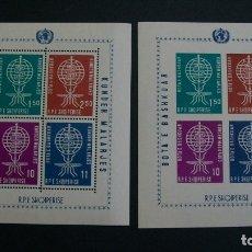 Sellos: ALBANIA-1962-Y&T 6A**(MNH)-JUEGO DE 2 BLOQUES CON I SIN DENTAR. Lote 178993858