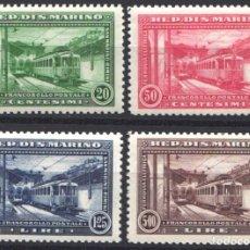 Sellos: SAN MARINO 1932 YVERT Nº 164 / 167 /*/, FERROCARRILES / LÍNEA DE FERROCARRIL ELÉCTRICO A RIMINI. Lote 179026078