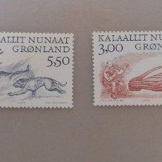 Sellos: GROENLANDIA/KALAALLIT NUNAAT/DINAMARCA-4 SELLOS-ISSITTUMI QALLUNAATSIAAT-ARKTISKE VIKINGER-2000. Lote 179386850