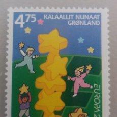 Sellos: GROENLANDIA/KALAALLIT NUNAAT/DINAMARCA/GRONLAND/GREENDLAND-1 SELLO- NIÑOS CON ESTRELLAS-EUROPA 2000. Lote 179387770