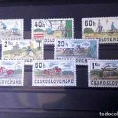 Sellos: CHECOSLOVAQUIA, BICICLETAS Y MOTOS . Lote 194390118