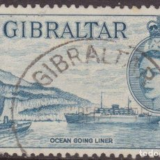Sellos: GIBRALTAR 1953 SCOTT 137 SELLO º PEÑON Y BARCO OCEAN GOING LINER 3D STAMPS TIMBRE BRIEFMARKE. Lote 195549391