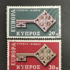 Sellos: CHIPRE, EUROPA CEPT 1968 USADA (FOTOGRAFÍA REAL). Lote 204113090