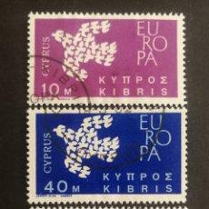 Sellos: CHIPRE, EUROPA CEPT 1961 COMPLETA Y USADA (FOTOGRAFÍA REAL). Lote 205558357