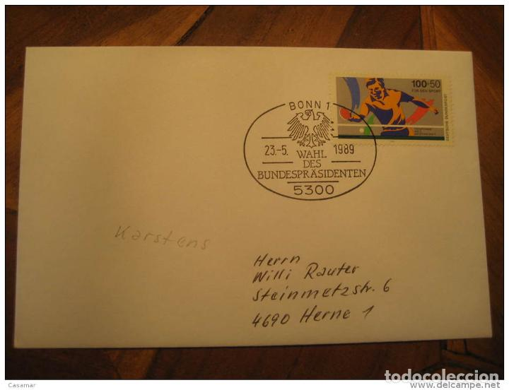 Usado, Bonn 1989 Bundesprasident Cancel Cover Germany Tennis Table Stamp segunda mano