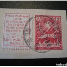 Francobolli: LEIPZIG LIPSIA LABEL ON PIECE STATIONERY PRIVATE STAMP LOCAL POSTAL SERVICE GERM. Lote 206068246