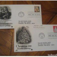 Sellos: YVERT 1924/5 ANTONELLO MADONNA EVERGREEN 1990 FDC CANCEL 2 COVER USA CHRISTMAS N. Lote 206109033