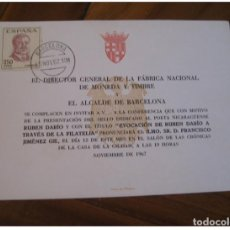 Sellos: RUBEN DARIO POESIA POETRY NICARAGUA BARCELONA 1967 CANCEL DOCUMENT CARD SPAIN LI. Lote 235101545