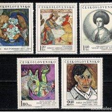Sellos: CHECOSLOVAQUIA 1972 - CUADROS DE MUSEOS CHECOS - PICASSO - YVERT Nº 1948/1952**. Lote 206490011