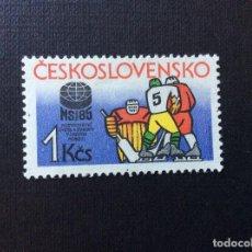 Sellos: CHECOSLOVAQUIA Nº YVERT 2625*** AÑO 1985. CAMPEONATO MUNDO DE HOCKEY SOBRE HIELO,EN PRAGA. Lote 206835123