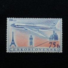 Sellos: CHECOSLOVAQUIA, 75 H, AEREO PARIS-PLAGA, AÑO 1957. SIN USAR. Lote 210338447