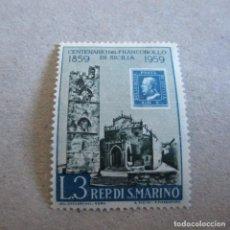 Sellos: SAN MARINO 1959, YVERT Nº 474**, CENTENARIO DEL SELLO DE SICILIA. Lote 210477126