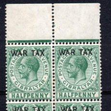 Sellos: GIBRALTAR/1918/MNH/SC#MR1/KING EDWARD VII / OVERPRINTED / WAR / BLOCK. Lote 215516965