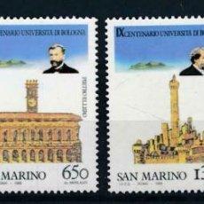 Sellos: SAN MARINO 1988 IVERT 1181/4 *** 9º CENTENARIO DE LA UNIVERSIDAD DE BOLOGNE - MONUMENTOS. Lote 222538272