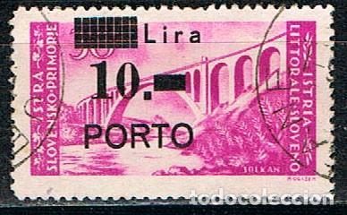ISTRIA (OCUPACION DE YUGOESLAVIA) TASA IVERT Nº 10, PUENTE, USADO (Sellos - Extranjero - Europa - Otros paises)