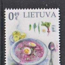 Sellos: 1.- LITUANIA 2020 PATRIMONIO GASTRONÓMICO - SOPA LITUANA ROSA FRÍA. Lote 225867590
