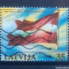 Sellos: LETONIA 2010 BANDERA NACIONAL SELLO USADO. Lote 227109525