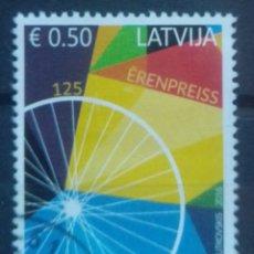 Sellos: LETONIA 2016 FÁBRICA DE BICICLETAS SELLO USADO. Lote 227109565