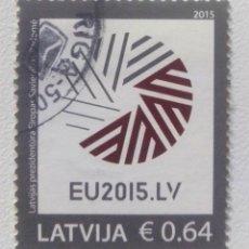 Sellos: LETONIA 2015 ENTRADA EN LA UNIÓN EUROPEA SELLO USADO. Lote 228729395