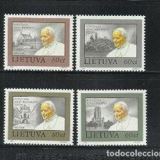 Sellos: LITUANIA 1993 IVERT 463/6 *** VISITA DE S.S. EL PAPA JUAN PABLO II - RELIGIÓN. Lote 229199755
