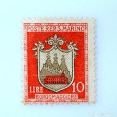 Sellos: SELLO POSTAL SAN MARINO 1945 , 10 ₤, ESCUDO DE ARMAS DEFINITIVO 1945,BORGOMAGGIORE, SIN USAR. Lote 233930090