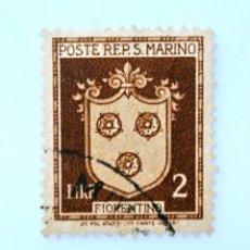 Sellos: SELLO POSTAL SAN MARINO 1945 ,2 ₤, ESCUDO DE ARMAS DEFINITIVO 1945, FIORENTINO, USADO. Lote 233930965
