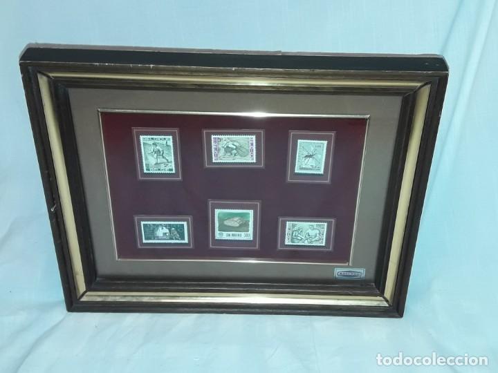 Sellos: Cuadro colección 6 antiguos sellos con moldura y cristal de protección, Marca Rosendo. - Foto 2 - 235290480