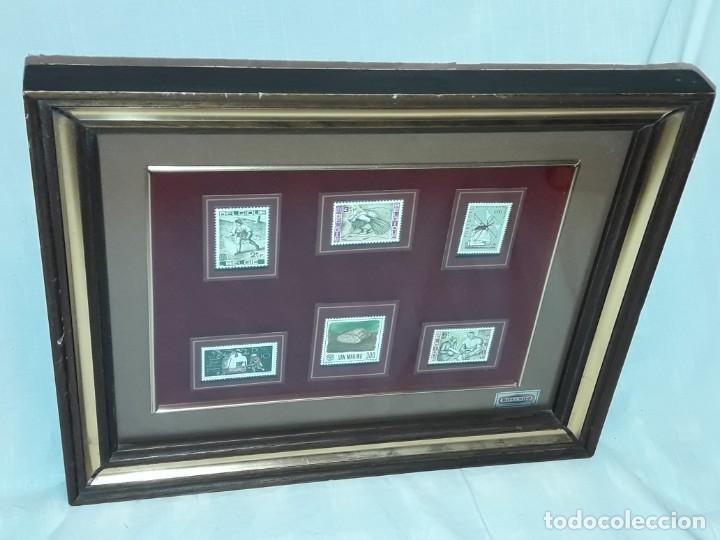 Sellos: Cuadro colección 6 antiguos sellos con moldura y cristal de protección, Marca Rosendo. - Foto 3 - 235290480