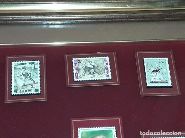 Sellos: Cuadro colección 6 antiguos sellos con moldura y cristal de protección, Marca Rosendo. - Foto 6 - 235290480