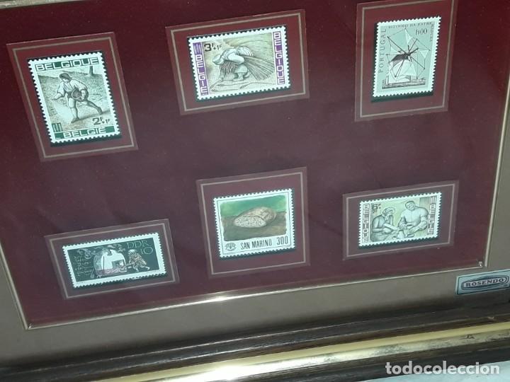 Sellos: Cuadro colección 6 antiguos sellos con moldura y cristal de protección, Marca Rosendo. - Foto 11 - 235290480