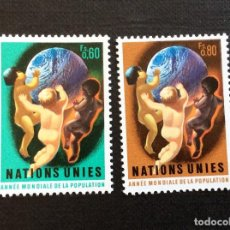 Sellos: NACIONES UNIDAS GINEBRA Nº YVERT 43/4*** AÑO 1974. AÑO MUNDIAL DE LAPOBLACION. Lote 236656495