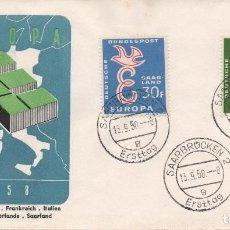 Sellos: SOBRE PRIMER DÍA CIRCULAOD DEL TEMA EUROPA DE SARRE 1958. Lote 236718570