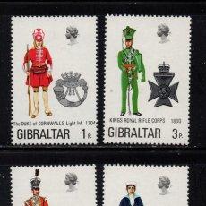 Sellos: GIBRALTAR 284/87** - AÑO 1972 - UNIFORMES MILITARES. Lote 243883195