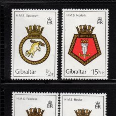 Sellos: GIBRALTAR 454/57** - AÑO 1982 - ESCUDOS DE BARCOS DE LA ROYAL NAVY. Lote 243889285