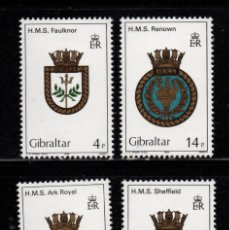 Sellos: GIBRALTAR 473/76** - AÑO 1983 - ESCUDOS DE BARCOS DE LA ROYAL NAVY. Lote 243889530
